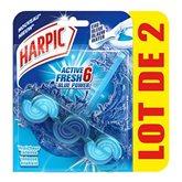 bloc wc fraîcheur intense eau bleue active fresh6 harpic x2