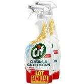 Cif Nettoyant Cuisine & Salle de Bain 5 en 1 le lot de 2 flacons de 750 ml - Familial