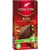 Chocolat bloc noir noisettes entières COTE D'OR 2x180g 360g